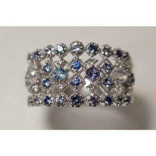 透かし K18 ブルーグラデーション ダイヤモンド リング 14号 WG ミル打(リング(指輪))