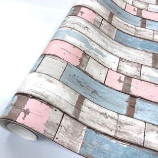 壁紙シール HVW-22517 木目 カラフルピンク 50cm×3m