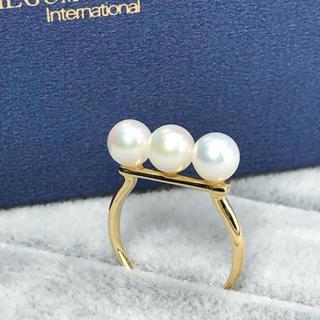 【お値下げ♡】K18YG あこや真珠3粒リング(リング(指輪))