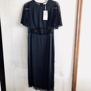 ザラ(ZARA)のザラ ZARA ワンピース ドレス レース 新品未使用(ロングドレス)