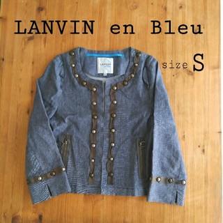 ランバンオンブルー(LANVIN en Bleu)のランバンオンブルー   スタッズ デニム ノーカラー ジャケット(ノーカラージャケット)