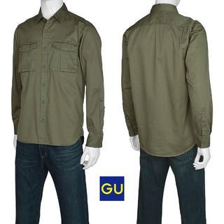 GU - 半額中★新品GUコットンツイルミリタリーシャツSオリーブカーキ