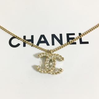 CHANEL - 正規品 シャネル ネックレス ゴールド ココマーク ラインストーン 金 ロゴ 石