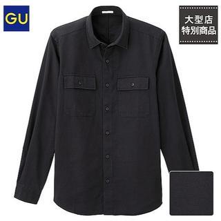 GU - 半額中★新品GUコットン厚手ミリタリーシャツSブラック黒