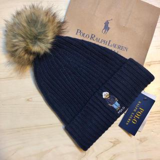 POLO RALPH LAUREN - ポロ ラルフローレン POLO 帽子 ニット帽 クマ ベア ポンポン紺 ブランド