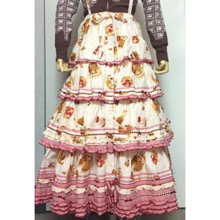 ピンクハウス(PINK HOUSE)のピンクハウス/ドルチェ柄ティアード吊りスカート/スイーツ/ケーキ(ロングスカート)