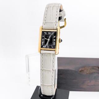 Cartier - 【仕上済】カルティエ タンク SM 黒文字盤 ゴールド レディース 腕時計