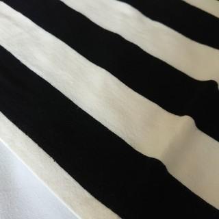 エイチアンドエム(H&M)のH&M ボーダー膝丈ベアトップワンピース 黒×白 XS コットン製(ひざ丈ワンピース)
