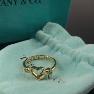 ティファニー(Tiffany & Co.)の美品 ティファニー ゴールド 2P ダイヤ オープン ハート リング BO30(リング(指輪))