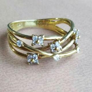 【K18】◆ダイヤモンド0.30ct付 アンティークデザインリング/11号