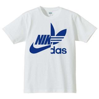 【送料込み】パロディー Tシャツ ホワイト/ブルー Lサイズ