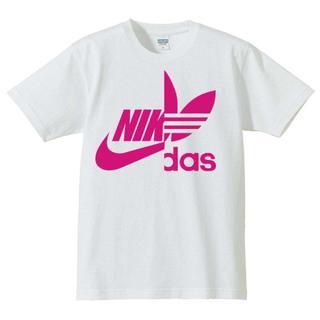 【送料込み】パロディー Tシャツ ホワイト/ピンク Mサイズ