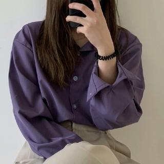 韓国 新作 ゆったり パープル  シャツ ブラウス   (シャツ/ブラウス(長袖/七分))
