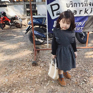 フリル ギンガムチェック リボン結び ジャンパースカート(ワンピース)