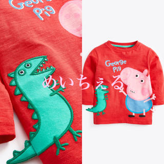 【新品】レッド 長袖PeppaPig Tシャツ(ヤンガー)