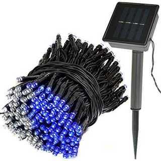 ブルー&ホワイト300球Lit up 太陽発電 ソーラー 充電式 LED イルミ(その他)