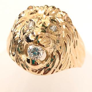ライオン ダイヤモンド リング LION 獅子 k18yg イエローゴールド(リング(指輪))