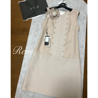 René - rene♡  2019年今期 新品♡試着のみ おリボンブローチ付ウールワンピース