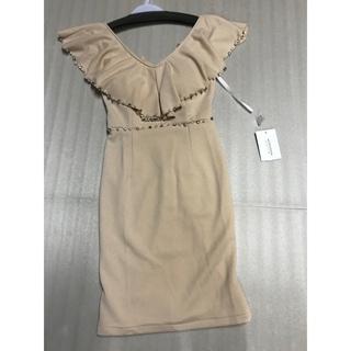 ◆新品タグ付き◆厚手上質◆BIG襟ミニドレス◆ベージュS(ミニドレス)