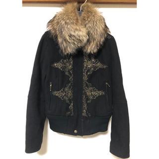 お値下げ可能 定価約7万 ウール製 リアルファー付き ライダースジャケット(ライダースジャケット)