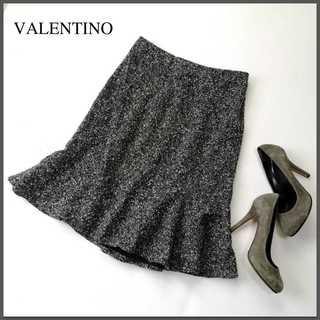 ヴァレンティノ(VALENTINO)のヴァレンティノ★ウールネップ フレアスカート 8(日本M位)ツイード 灰(ひざ丈スカート)
