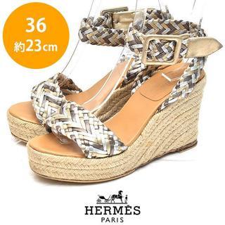 エルメス(Hermes)のエルメス 編み込みベルト エスパドリーユ サンダル 36(約23cm)(サンダル)