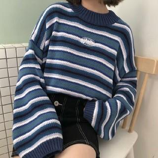 モテコーデ♪ボーダーニット オルチャン  モックネック  ブルー×パープル(ニット/セーター)