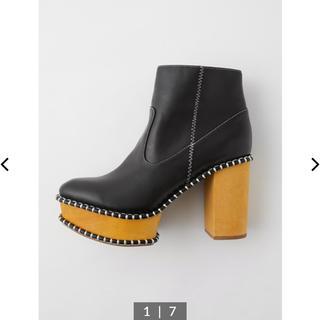 マウジー(moussy)の【時間限定値下げ】【美品】moussy WOOD SOLE BOOTS (ブーツ)