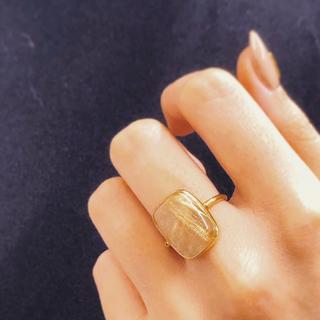 サイズ直し無料 ルチルクォーツ  K18YG リング(リング(指輪))