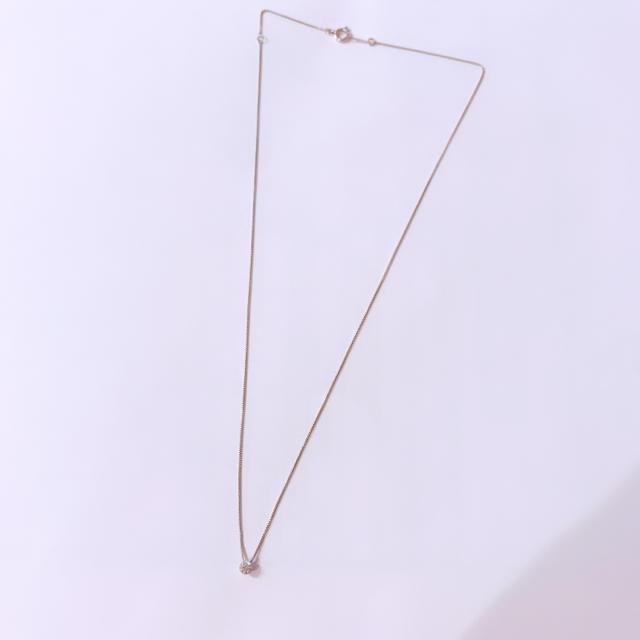 K18WG 一粒 ダイヤモンド ネックレス D0.10ct レディースのアクセサリー(ネックレス)の商品写真