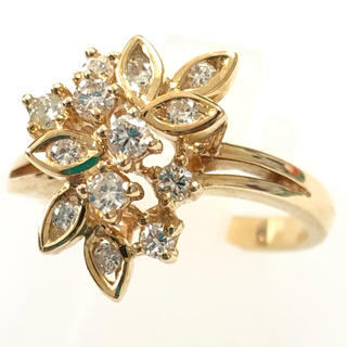 k18yg ダイヤモンド リング ダイヤリング  イエローゴールド 花 フラワー(リング(指輪))