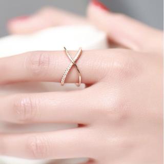 【ラッピング袋付】 レディース 指輪 ピンクゴールド クロスデザイン リング(リング(指輪))