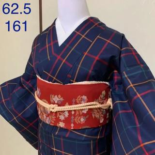 《紬》紺地にチェック紬着物セット  (着物)