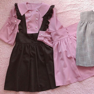 アンクルージュ(Ank Rouge)のAnk Rouge サロペットスカート ブラック(サロペット/オーバーオール)