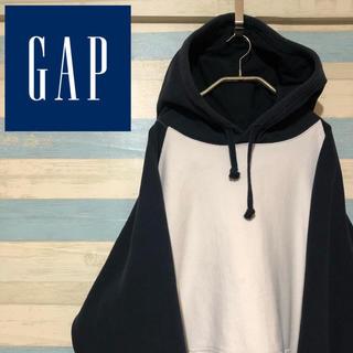 ギャップ(GAP)の☆レア☆オールドギャップ☆バイカラー☆プルオーバーパーカー☆ブラック ホワイト(パーカー)