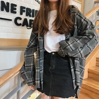 秋冬 チェックシャツ 厚手  ファッショングレー    (シャツ/ブラウス(長袖/七分))