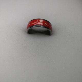 心電図柄 新品 ファッションリング 13号 rb52(リング(指輪))