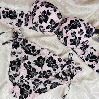 001★A75 M★ブラ ショーツ ハワイアン ハイビスカス ピンク(ブラ&ショーツセット)