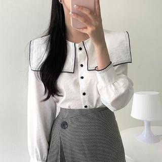 新品 ファッション 気質  長袖 シャツ   白(シャツ/ブラウス(長袖/七分))