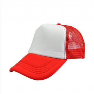 激安!無地メッシュキャップ 深さもあり形がいい 帽子 CAP ホワイト×レッド(キャップ)