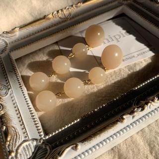 Kastane - 再∞販 clear beige ball long pierce
