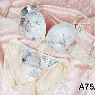 085★A75 M★美胸ブラ ショーツ Wパッド 花プリント クリーム(ブラ&ショーツセット)