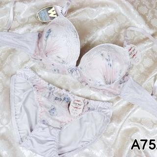 086★A75 M★美胸ブラ ショーツ Wパッド 花プリント 薄紫(ブラ&ショーツセット)
