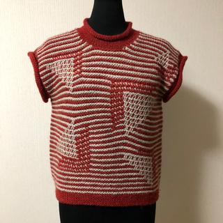 手作りハンドメイド 手編み 棒針編み ベスト レディス M (ベアトップ/チューブトップ)