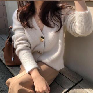 韓国風ファッション  Vネックカーディガン(カーディガン)