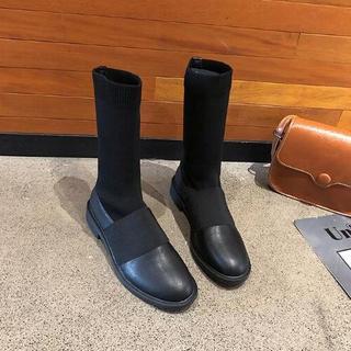 美脚  韓国 新作 靴下ブーツ   ソックスブーツ 黒  (ブーツ)