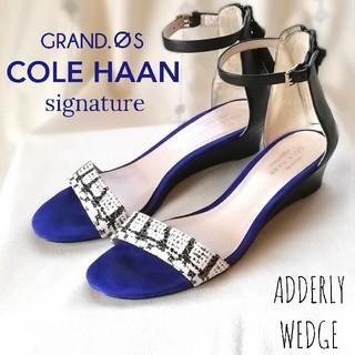 コールハーン(Cole Haan)のコールハーン/ウェッジヒール*サンダル/青×黒/後ファスナー/6.5(23.5)(サンダル)
