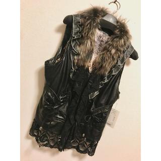 リリーブラウン(Lily Brown)のベスト ファー付き 狐 フォックス 11号 9号 m l 黒 皮 ジャケット 冬(毛皮/ファーコート)