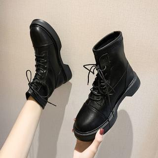 美脚 黒 欧風 新作 レディース マーティンブーツ   靴 (ローファー/革靴)