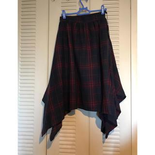 可愛いタータンチェックのドレープスカート(ひざ丈スカート)